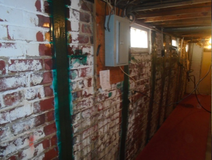 Brick Foundation Wall with Lead Paint